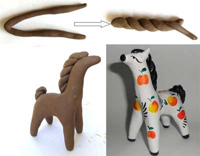 Лошадка из глины своими руками 5